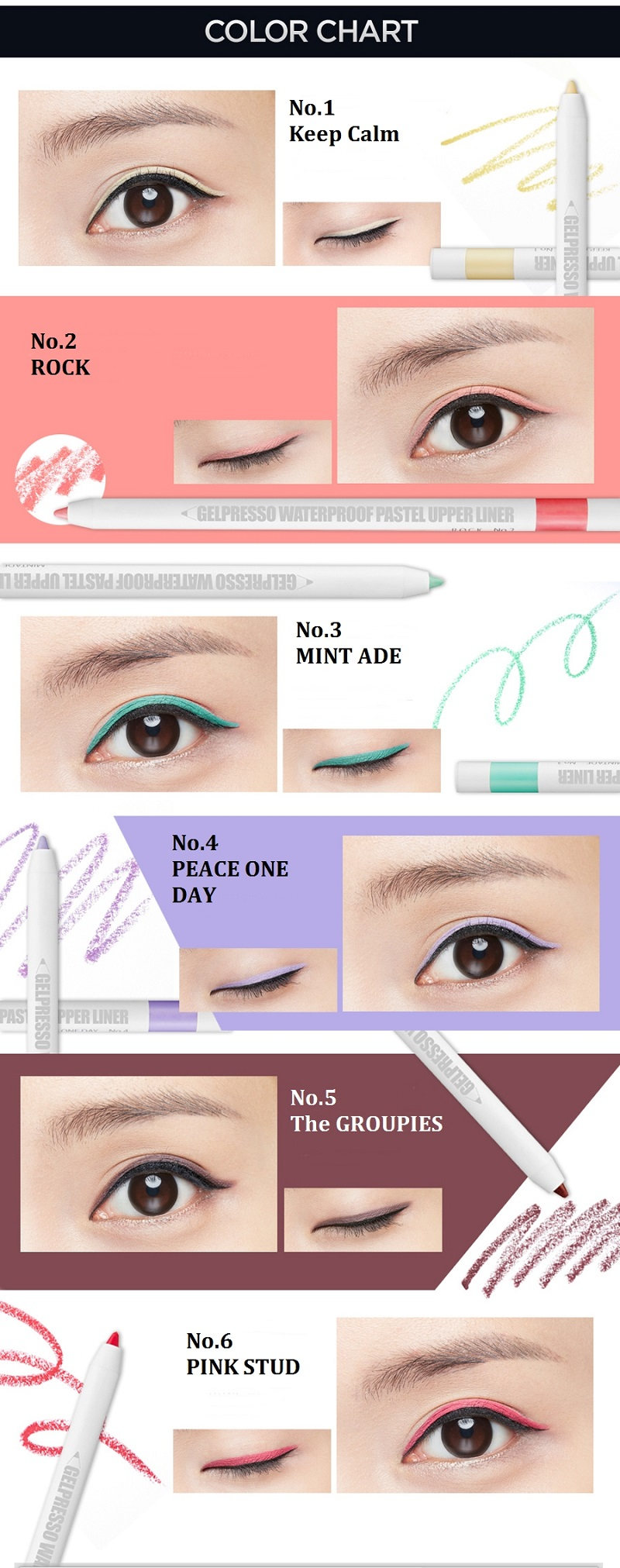 CLIO Gelpresso Waterproof Pastel Upper Liner - 6 Colors