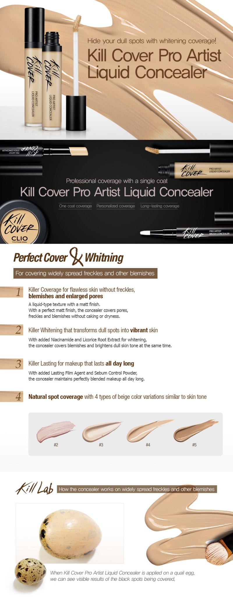 CLIO Kill Cover Pro Artist Liquid Concealer - 4 Colors