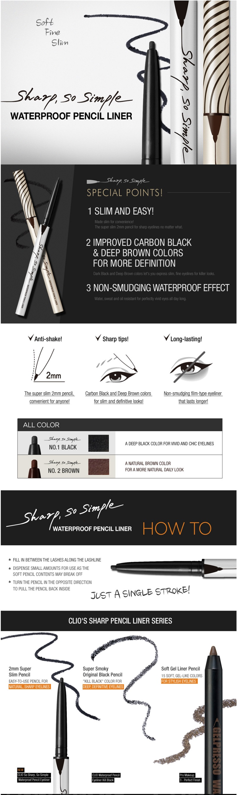 CLIO Sharp So Simple Waterproof Pen Liner