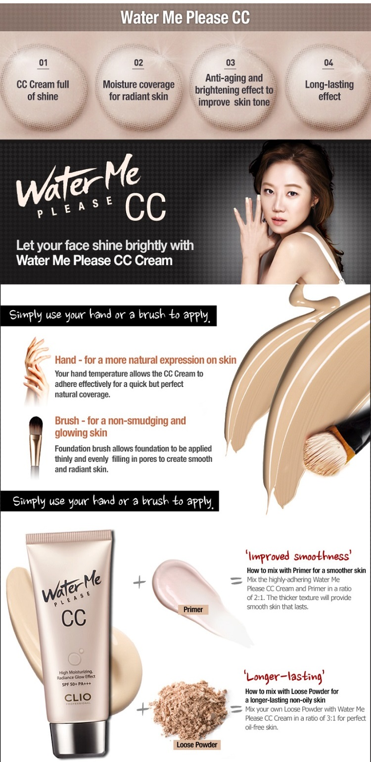 Korean makeup - CLIO Water Me Please CC (SPF50+,PA+++)