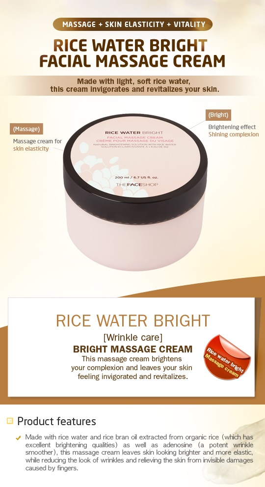 THE FACE SHOP Rice Water Bright Massage Cream - 200ml