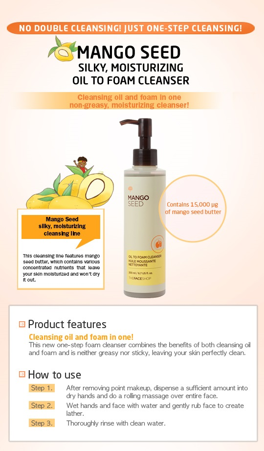 THE FACE SHOP Mango Seed Oil to Foam - 200ml