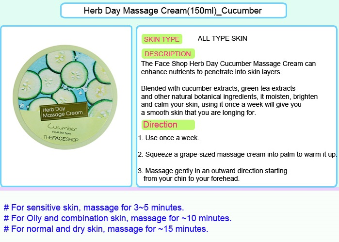 THE FACE SHOP Herb Day Massage Cream - Cucumber 150ml