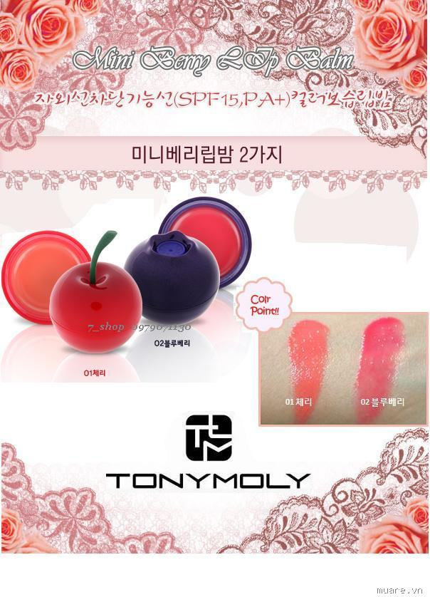 TONY MOLY Mini Berry Lip Balm (SPF15,PA+) - 2 Types (7.2g)