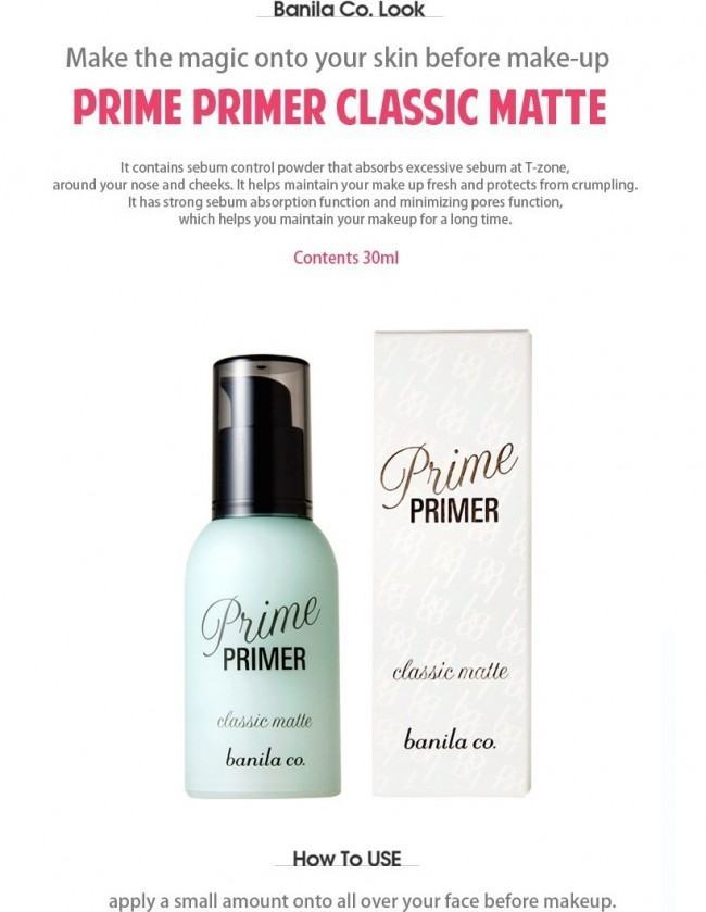 Korean Cosmetics-Banila Co. Prime Primer Classic Matte (30ml)