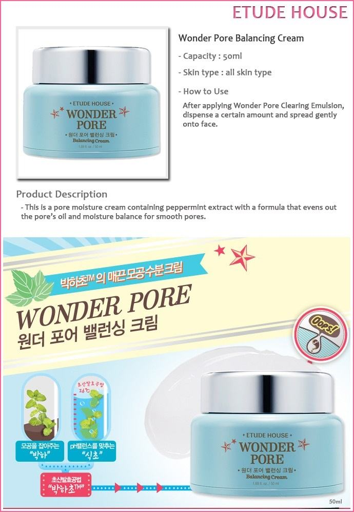 ETUDE HOUSE Wonder Pore Balancing Cream Korean Skincare