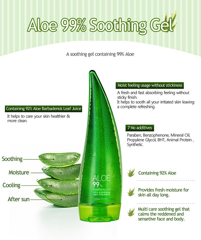 Korean Cosmetics-Holika Holika Aloe 99% Soothing Gel