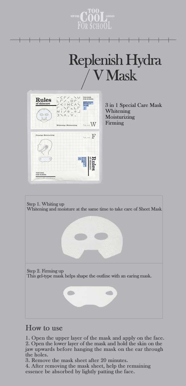 Korean Makeup-Too Cool For School Replenish Hydra V Mask [5 sheets]
