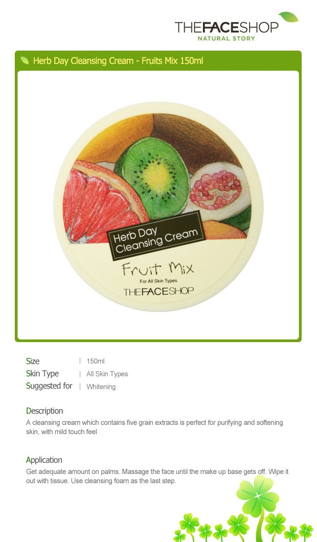 THE FACE SHOP Herb Day Cleansing Cream - Fruit Mix 150ml